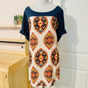 💥 Blue, Cream, Yellow, & Red Printed Tunic Top